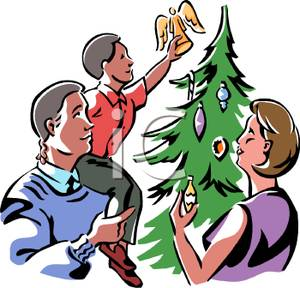 Tree with angel on top clipart banner royalty free library A Family Putting an Angel on Top of a Christmas Tree - Clipart banner royalty free library