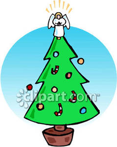 Tree with angel on top clipart graphic library download Christmas Tree With An Angel On Top - Royalty Free Clipart ... graphic library download