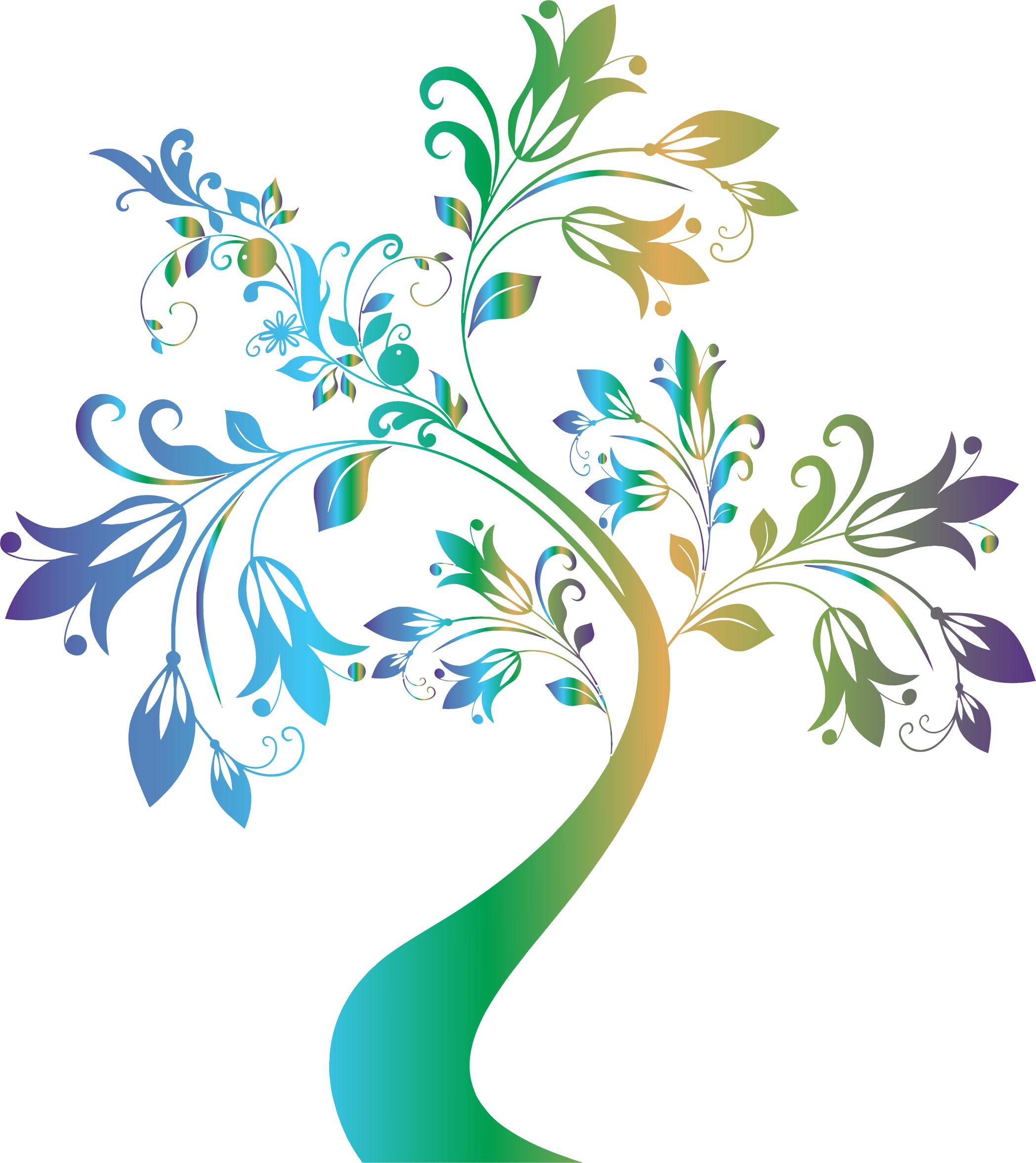 Tree with flowers clipart black and white stock Clipart - Colorful Floral Tree 2 black and white stock