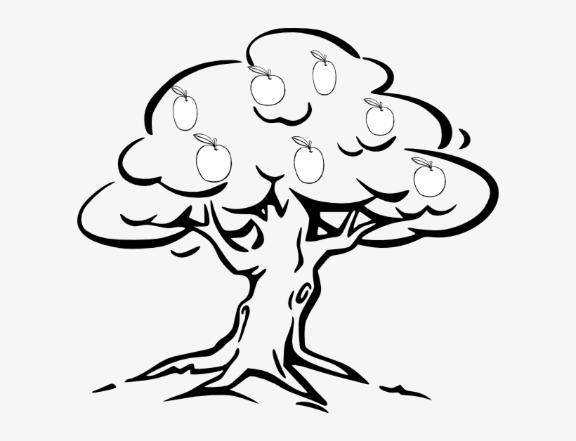 Tree with fruits clipart black and white clipart free library 28 Collection Of Easy Apple Tree Drawing - Fruit Tree ... clipart free library