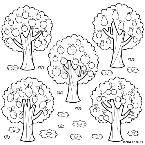 Tree with fruits clipart black and white png free library Fruit trees. Black and white coloring book page\