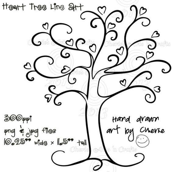 Tree with hearts clipart svg free Heart Tree PNG and JPG Graphics, Digital Download File, Tree Clip ... svg free