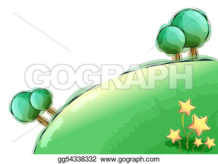 Tree with lawn clipart png royalty free Drawing - Tree and lawn. Clipart Drawing gg54338332 - GoGraph png royalty free