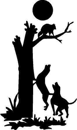 BLACK Vinyl Decal - Coon dog tree hunting hunt raccoon fun ... image black and white download