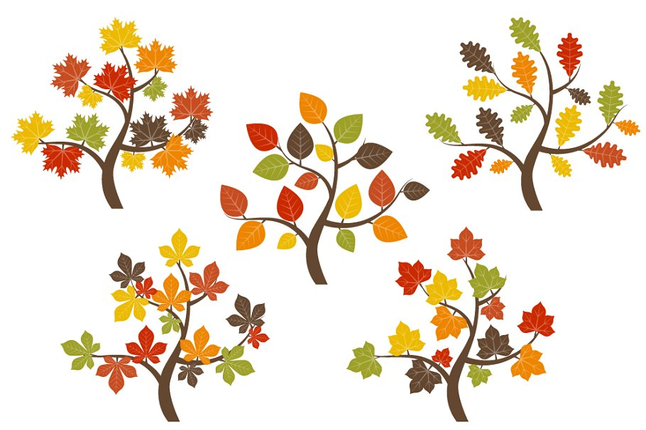 Tree with red yellow and green leaves clipart graphic royalty free stock Fall Trees Clip Art graphic royalty free stock