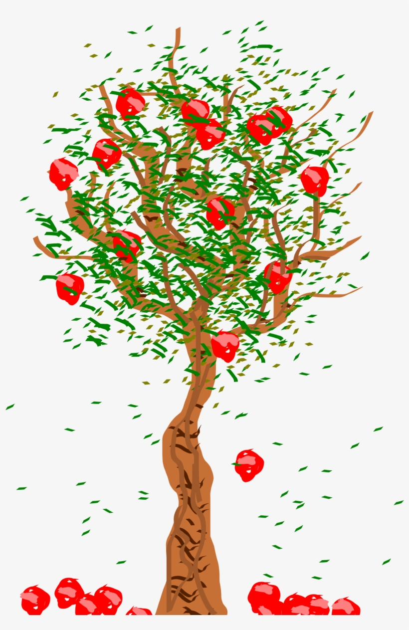 Tree with roots fruit and leaves and falling leaves clipart svg royalty free 28 Collection Of Apple Falling From Tree Clipart - Fruits ... svg royalty free