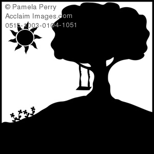 Tree with swing clipart silhouette vector free download Clip Art Illustration of a Tree Swing Silhouette vector free download