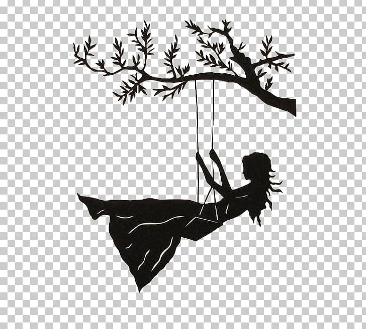 Tree with swing clipart silhouette jpg black and white library Silhouette Swing Drawing Art PNG, Clipart, Art, Black And ... jpg black and white library