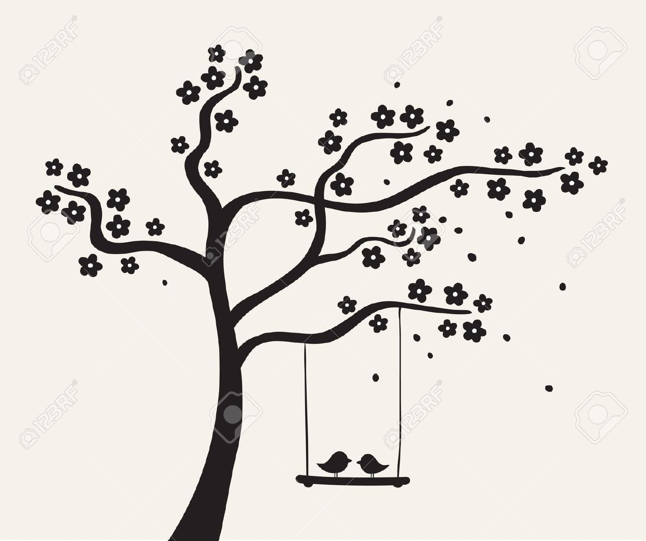 Tree with swing clipart silhouette image Stock Vector | illustration | Silhouette vector, Tree ... image