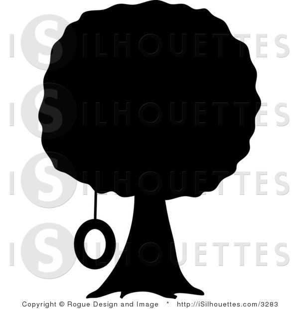 Tree with swing clipart silhouette royalty free stock Silhouette Vector Clipart of a Tree and Tire Swing by Pams ... royalty free stock