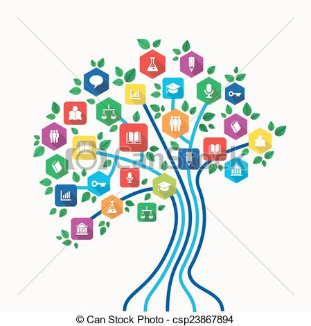 Tree with technology clipart image black and white library EPS Vectors of Education e-learning technology concept tree with ... image black and white library