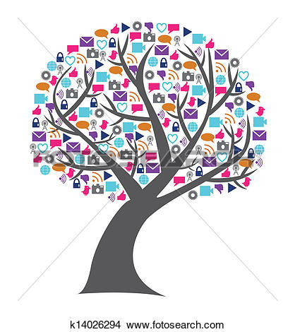 Tree with technology clipart image freeuse library Clipart of Social technology and media tree filled with networking ... image freeuse library