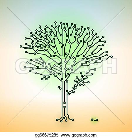Tree with technology clipart png stock Vector Clipart - Vector color circuit board electronic tree ... png stock