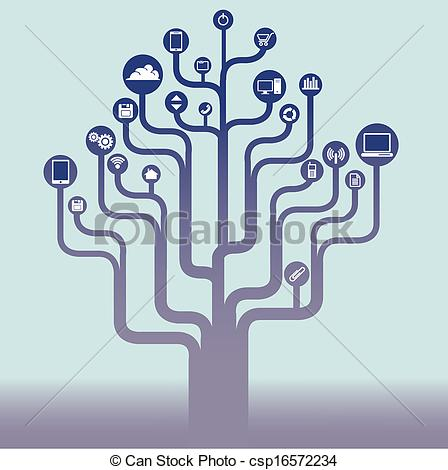 Tree with technology clipart clip black and white Vectors of Abstract technology tree background with icons for Web ... clip black and white