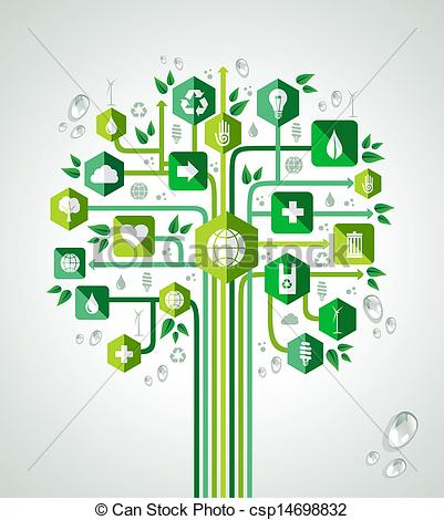 Tree with technology clipart banner library download Vectors of Green resources technology tree - Green resources ... banner library download