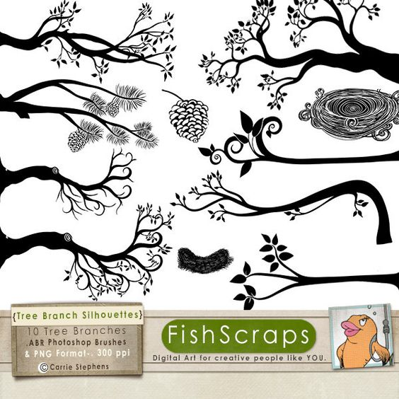 Tree with tree branches clipart clip art library library 75% SALE Tree Branch Silhouettes, Leaves + Branch ClipArt, Tree ... clip art library library
