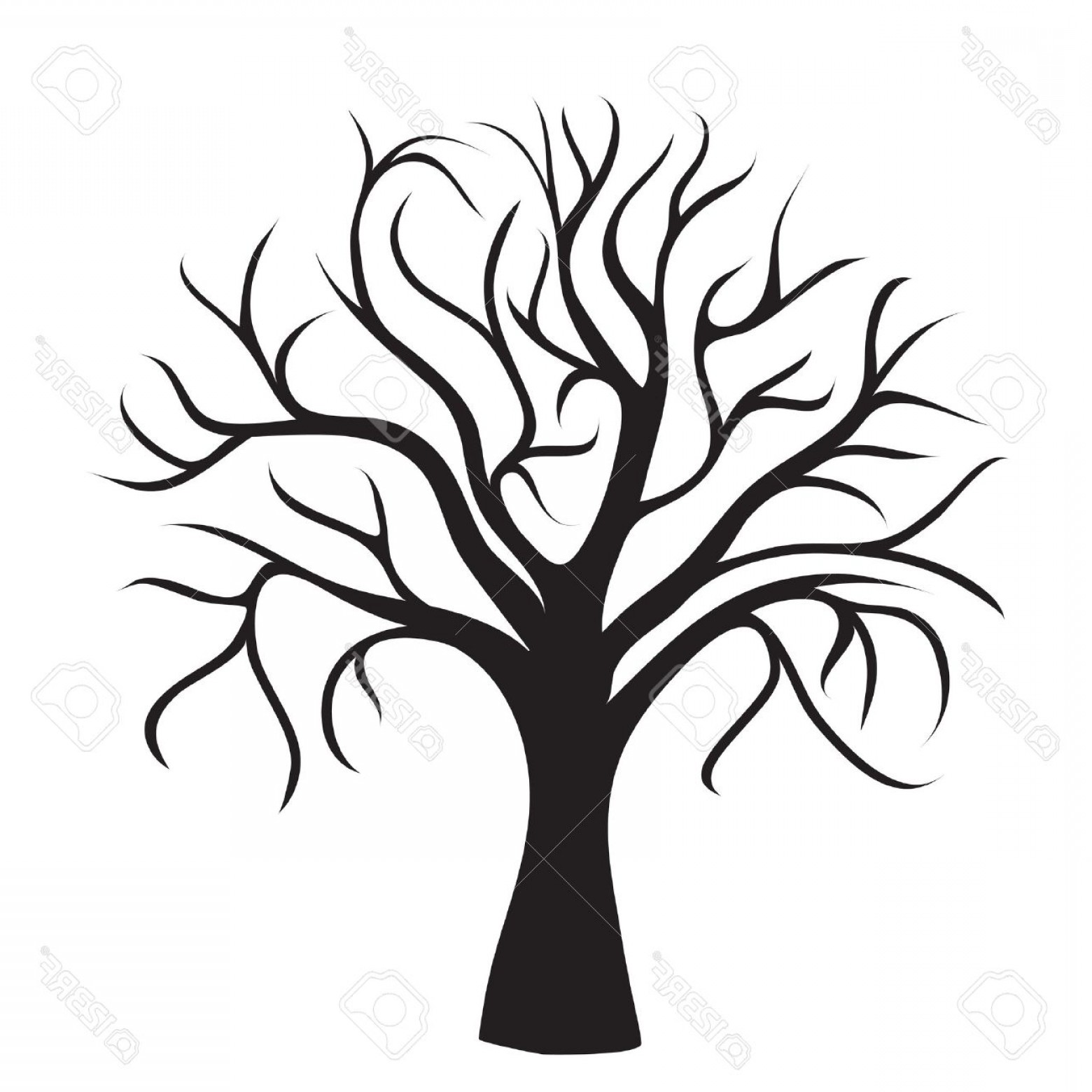Tree without leaves clipart black and white banner freeuse stock Photoblack Tree Without Leaves On White Background Vector ... banner freeuse stock