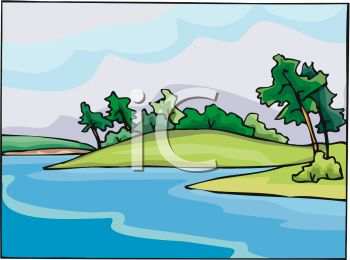 Trees water clipart jpg picture black and white download Picture of a Beautiful Scenery of Water and Land With the Trees ... picture black and white download