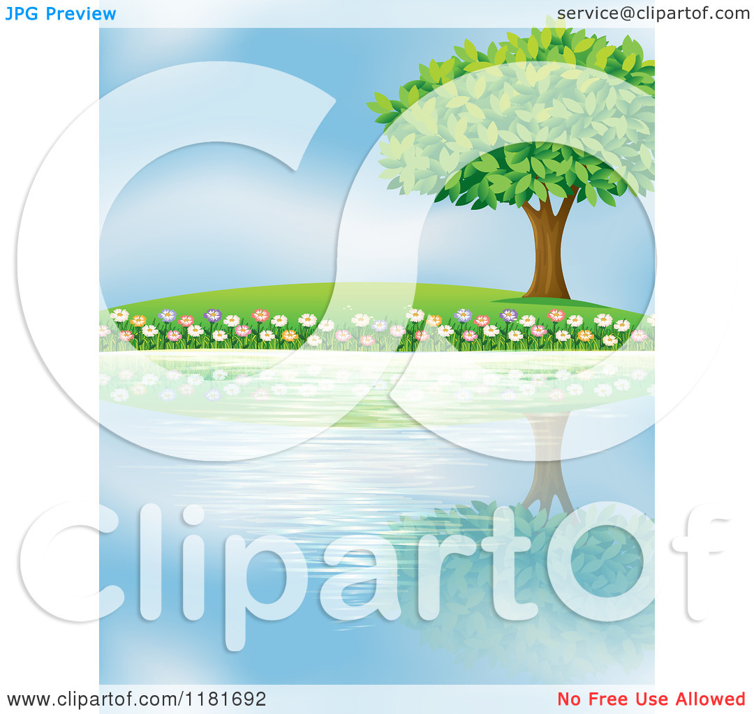 Trees water clipart jpg clip library download Cartoon of a Tree and Flowers Reflecting on Lake Water - Royalty ... clip library download