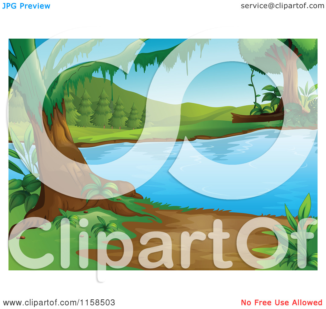 Trees water clipart jpg vector royalty free stock Clipart of a Scenic Landscape of Swamp Water Trees and a Beach ... vector royalty free stock
