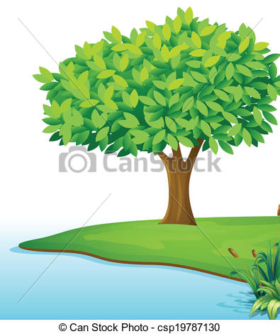 Trees water clipart jpg freeuse Vectors of A tree near the body of water - Illustration of a tree ... freeuse