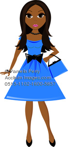 Trendy girl clipart banner library Clip Art Image of a Cute Young Ethnic Girl Wearing a Party Dress banner library