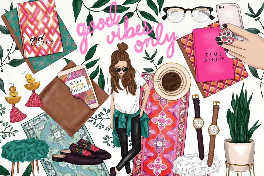 Trendy girl clipart picture black and white download Planner Trendy Girl Fashion Clip Art picture black and white download