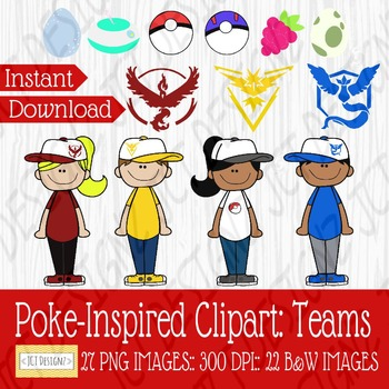 Poke-Inspired Clipart: Teams clip black and white stock