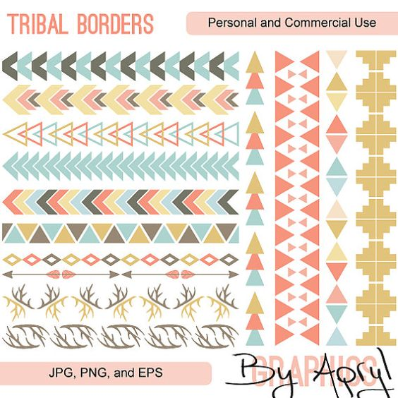 Tribal arrow border clipart graphic black and white library Tribal Pattern Borders in Pastel Aztec Clipart Commercial Use ... graphic black and white library