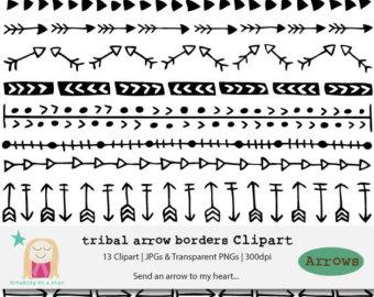 Tribal arrow border clipart banner royalty free stock Aztec arrow clipart | Etsy banner royalty free stock