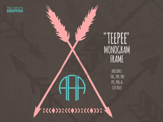 Tribal arrow circle clipart svg black and white stock SVG Teepee Monogram Cut File, Tribal Aztec Arrows, Camping Tent ... svg black and white stock