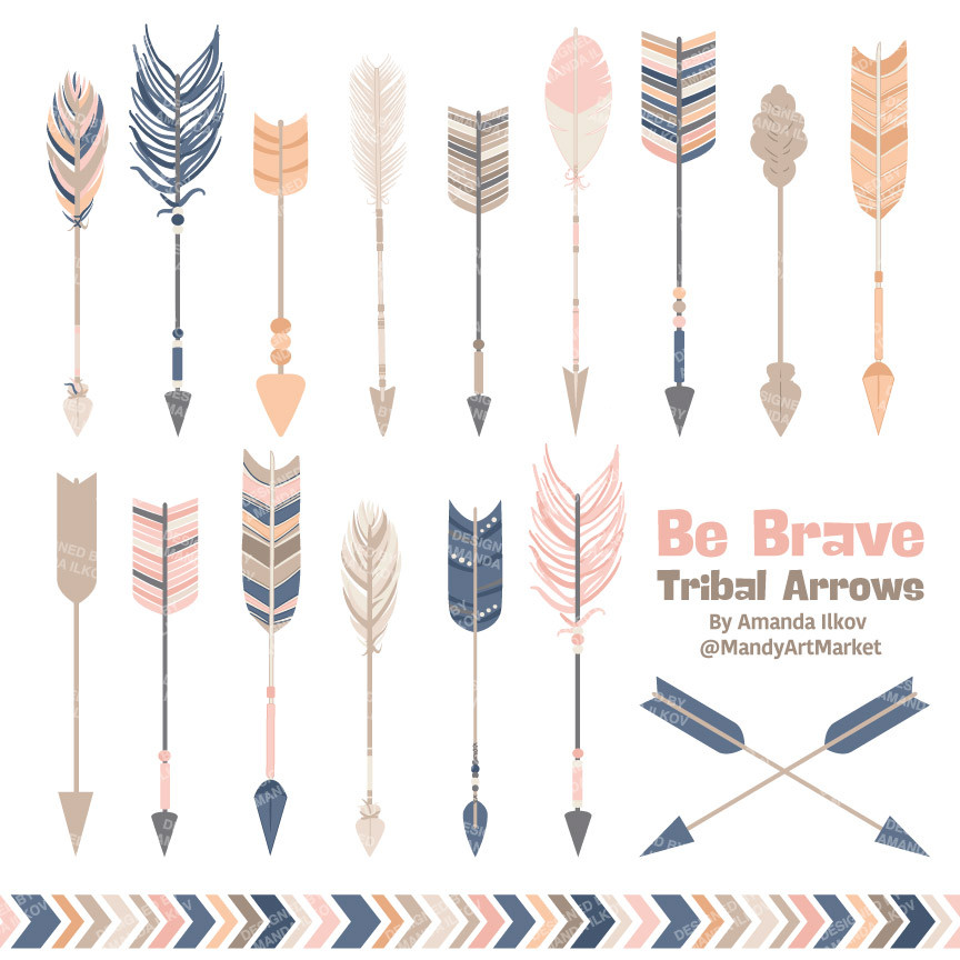 Tribal arrow clip art clip art library download Tribal Arrows Clipart in Navy & Blush – Mandy Art Market clip art library download