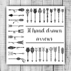 Tribal arrow clipart black and white clip black and white VECTOR Hand Drawn clipart arrows | Creative, Clip art and Middle clip black and white