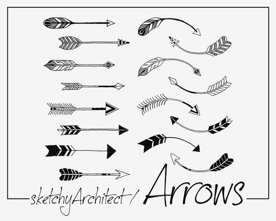 Tribal arrow clipart black and white single banner black and white stock Arrows Clip art Hand drawn Tribal Archery Cute by thatProps ... banner black and white stock