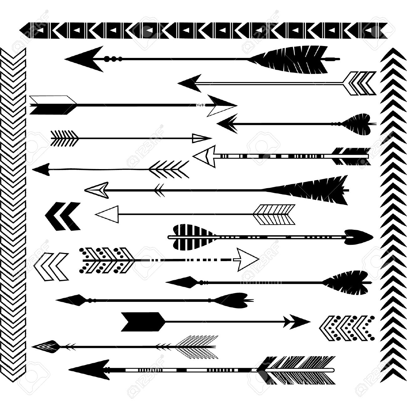 Library of tribal arrow clip freeuse library black and ...
