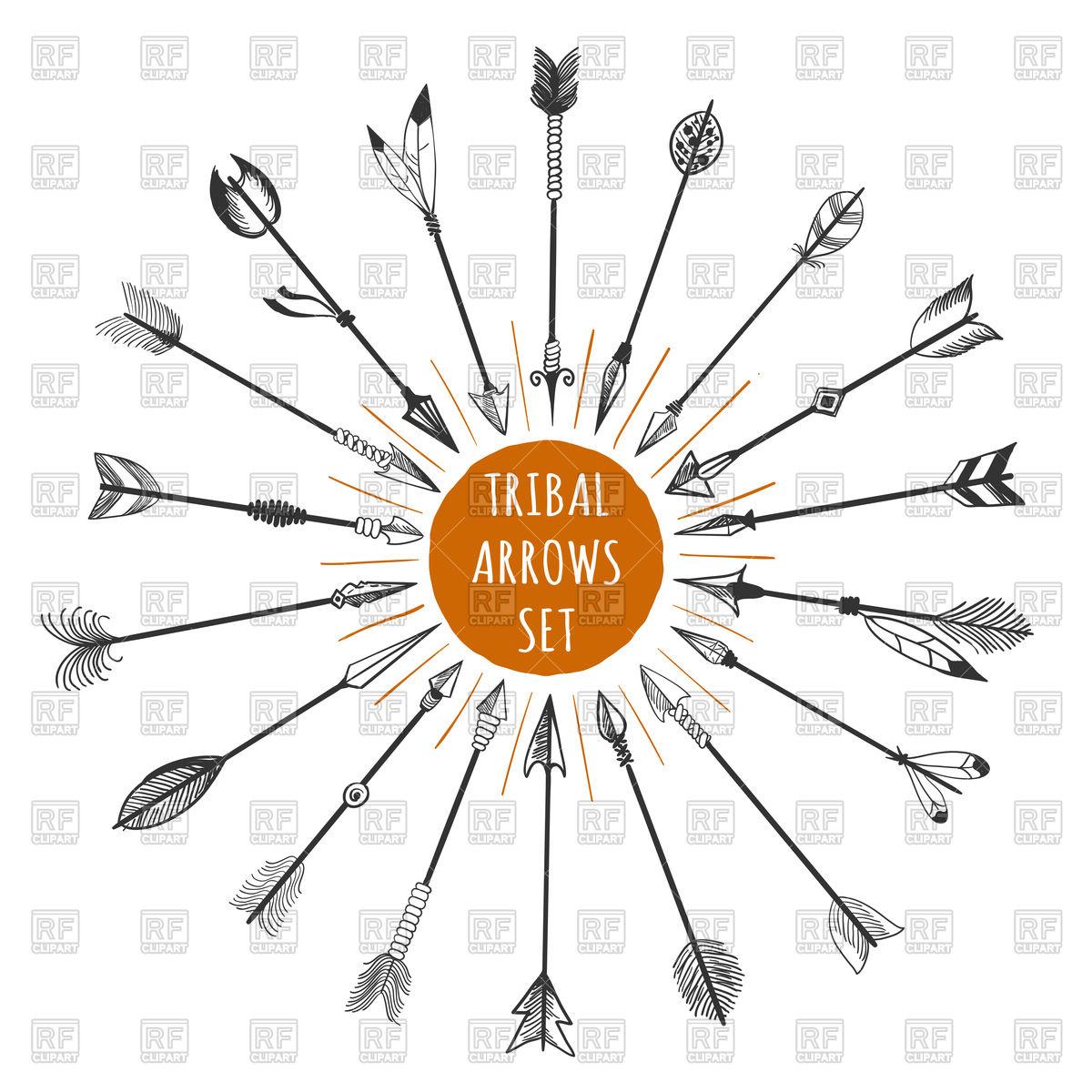 Tribal arrow clipart circle clip Hand drawn tribal arrows set with orange circle Vector Image ... clip