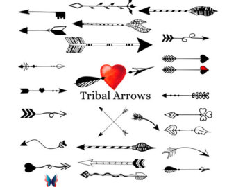 Tribal arrow clipart heart graphic library Hand drawn arrows | Etsy graphic library