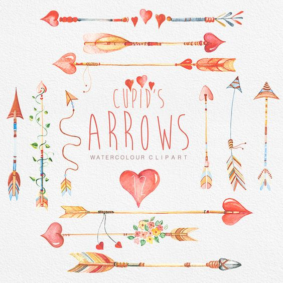 Tribal arrow clipart heart banner freeuse stock Arrows Сupid's, Hand Drawn Watercolour Clipart. DIY elements ... banner freeuse stock