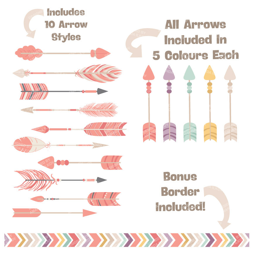 Tribal arrow clipart png clipart library library Tribal Arrows Clipart in Vintage Pink – Mandy Art Market clipart library library