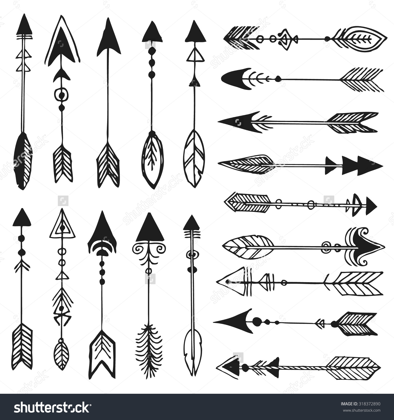 Tribal arrow clipart vector png black and white library Hand Drawn Doodle Tribal Arrows Hipster Stock Vector 318372890 ... png black and white library