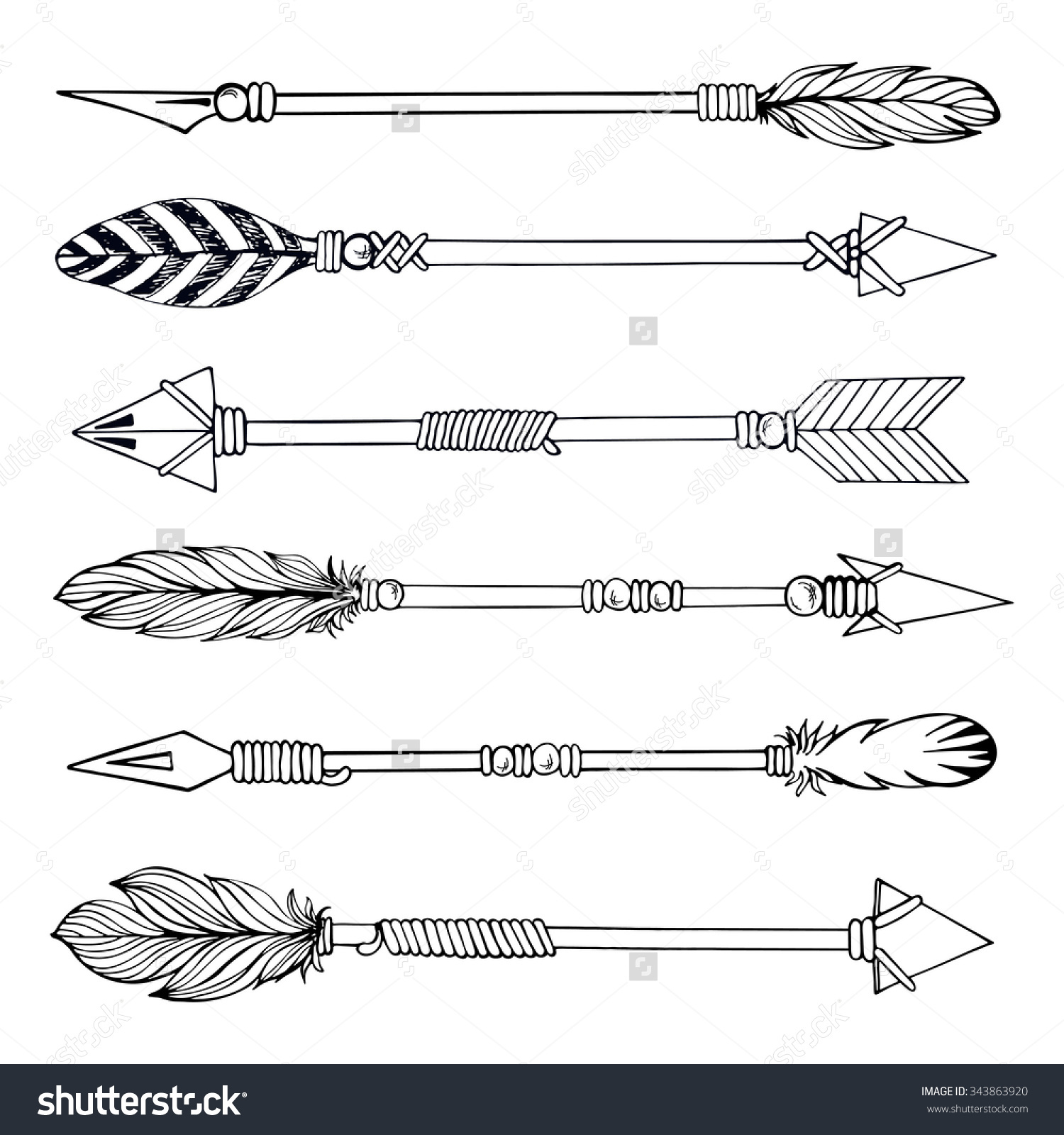 Tribal arrow clipart vector clip library Arrows Watercolor Clipart, Hand Painted Elements, Feather, Wedding ... clip library