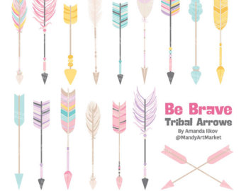 Tribal arrow feather clipart jpg library download Items similar to Digital ClipArt Tribal Arrows and Feathers ... jpg library download