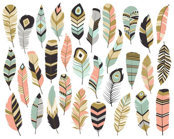 Tribal arrow feather clipart jpg transparent library Tribal Feathers Clipart - Set of 31 Vector, PNG & JPG Files ... jpg transparent library