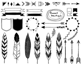 Tribal arrow feather clipart black and white svg free Arrow feathers clipart black and white - ClipartFest svg free