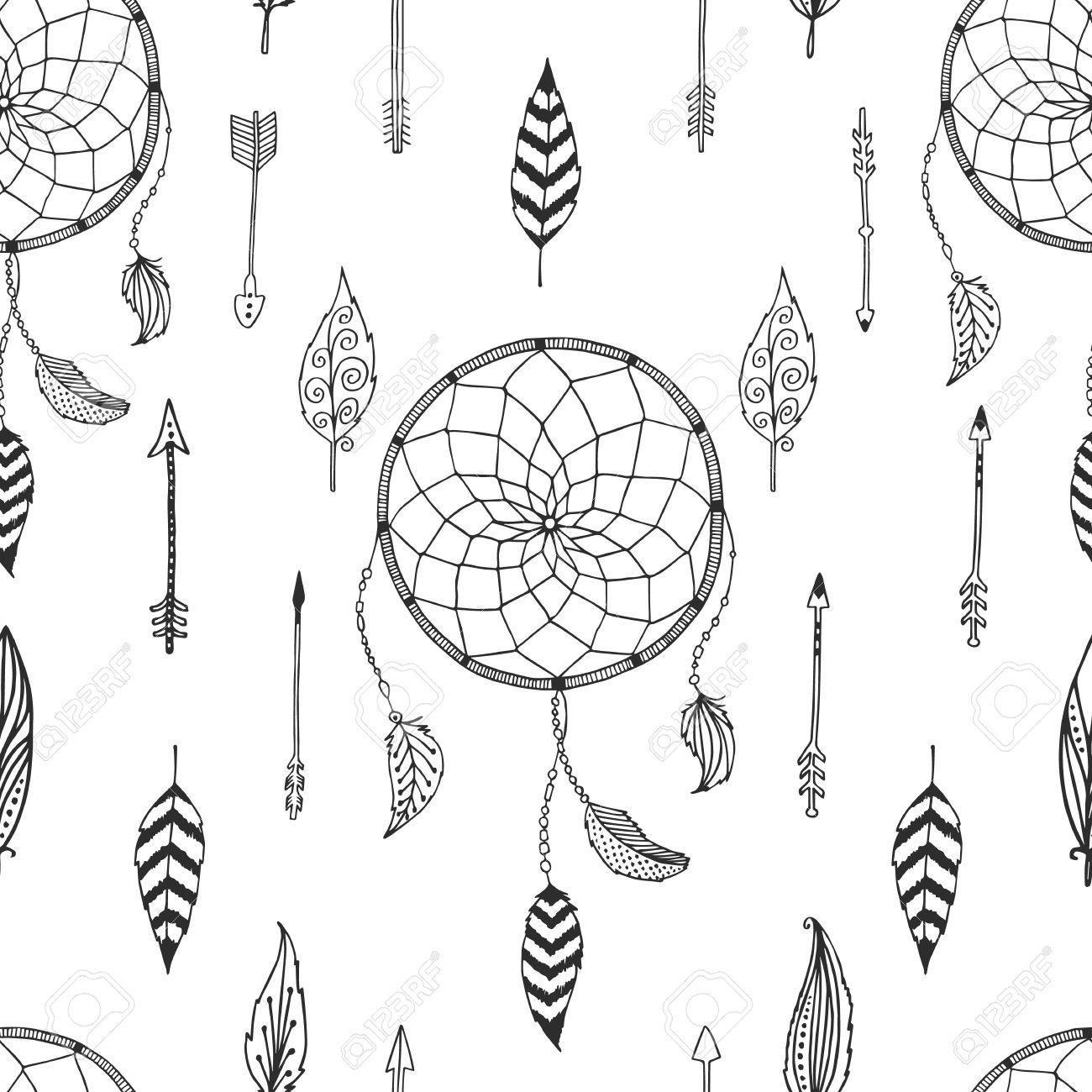 Tribal arrow feather clipart black and white transparent Vector Arrow Background, Retro Pattern, Etnic Doodle Collection ... transparent
