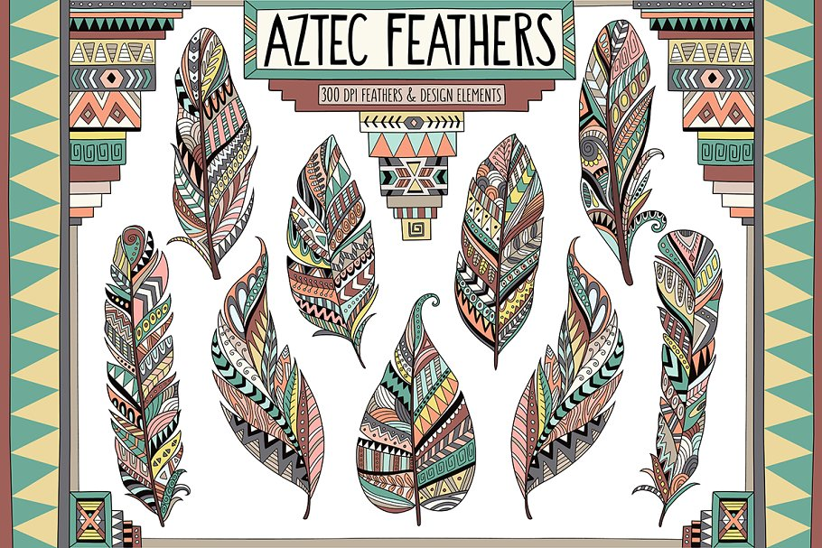 Aztec Tribal Feathers Clipart Set clip art royalty free library