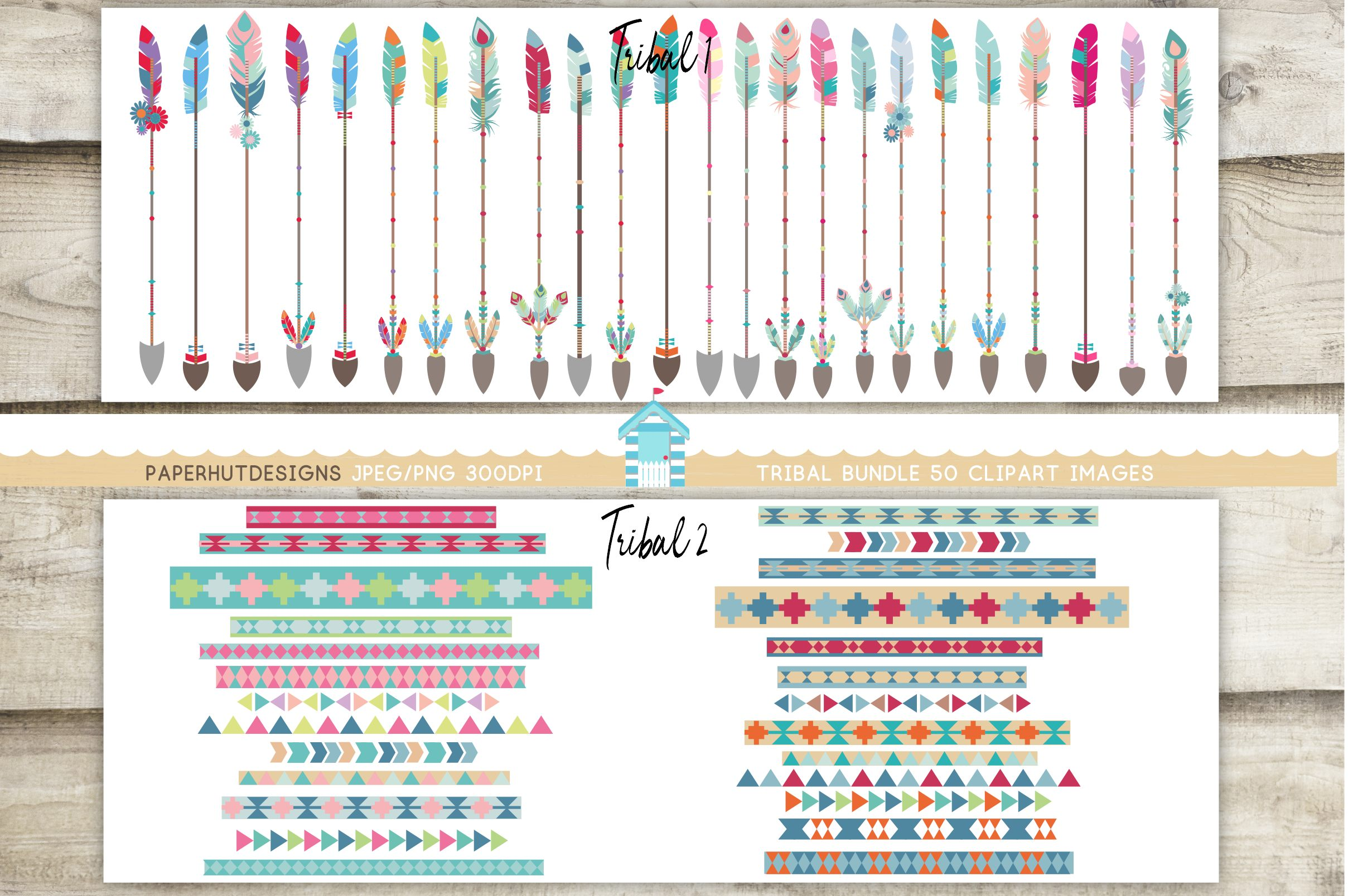 Tribal clipart borders png stock Tribal Arrows and Tribal Pattern Borders Clipart Bundle png stock