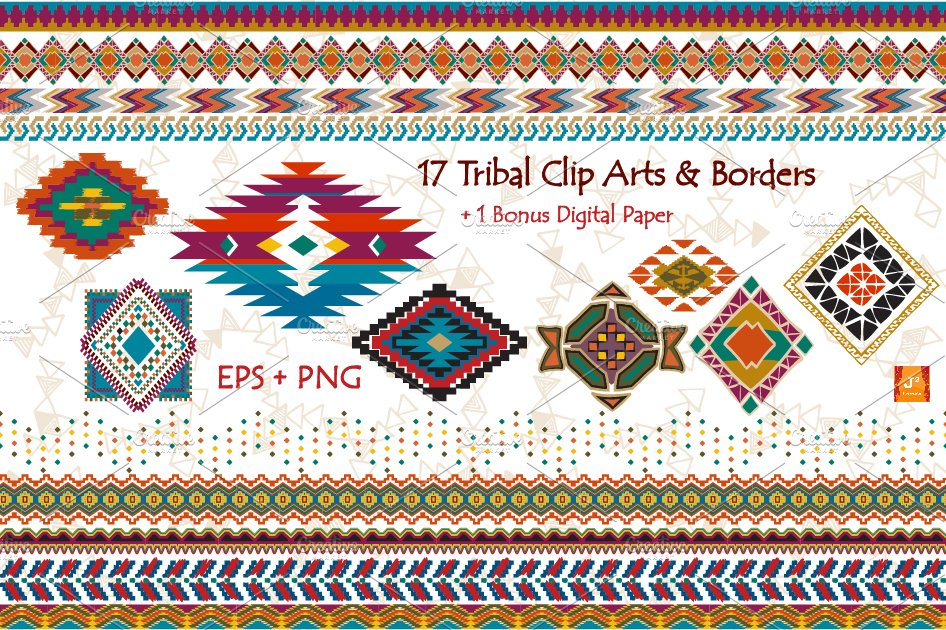 Tribal clipart borders picture free download Tribal Clip Art & Border- EPS + PNG picture free download