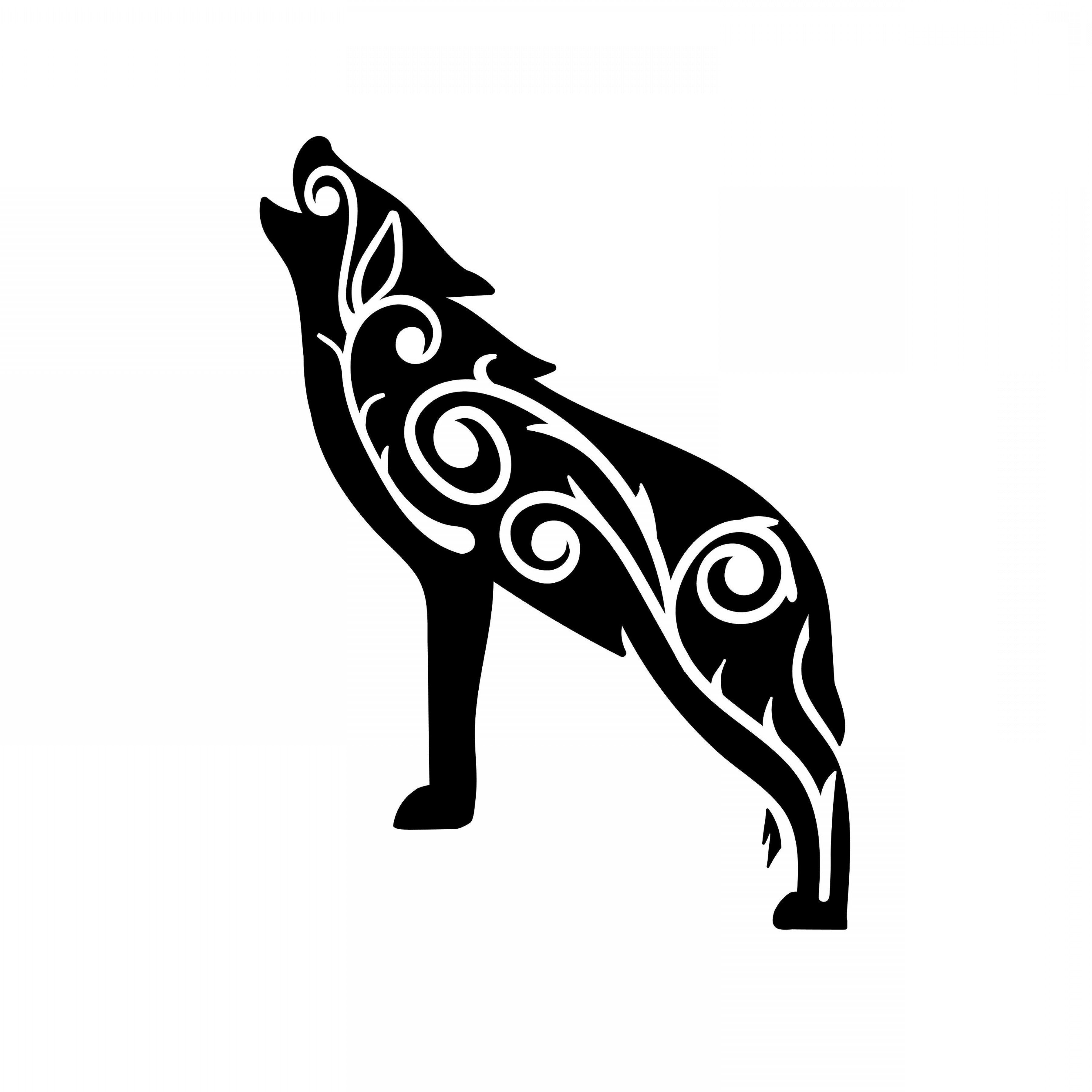 Tribal Wolf Clipart Wolf Silhouette Svg | SOIDERGI clipart black and white stock