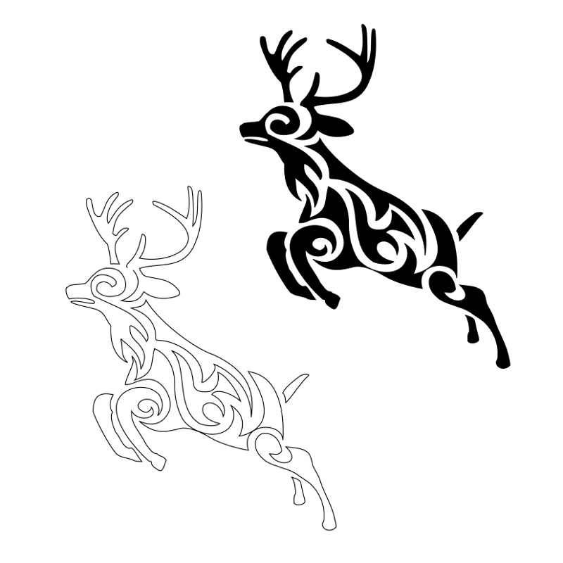 Tribal Deer Head Tattoos Cliparts.co clipart
